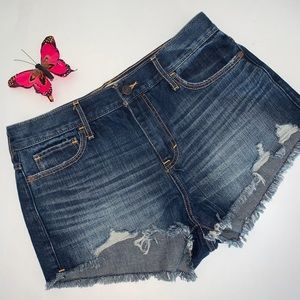 Abercrombie & Fitch Blue Distressed Denim Shorts 8